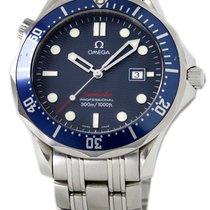 Omega Сталь Кварцевые Синий Без цифр 41mm подержанные Seamaster Diver 300 M