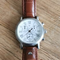 Maurice Lacroix Les Classiques Chronographe gebraucht 40mm Weiß Chronograph Datum Leder