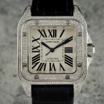 Cartier Weißgold Automatik Weiß Römisch 33mm gebraucht Santos 100