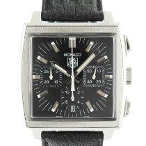 TAG Heuer Monaco occasion 38mm Noir Chronographe Date Cuir