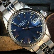 Rolex Oyster Perpetual Lady Date Сталь 26mm Синий Без цифр