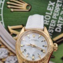 Rolex Ouro amarelo Automático Branco Romanos usado Oyster Perpetual 26