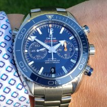 Omega Seamaster Planet Ocean Chronograph pre-owned 45.5mm Blue Chronograph Date Titanium