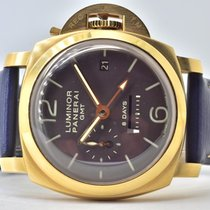 Panerai Luminor 1950 8 Days GMT Gelbgold 44mm Braun Arabisch Deutschland, Iffezheim