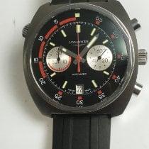 Longines Heritage gebraucht 43mm Schwarz Chronograph Datum Kautschuk