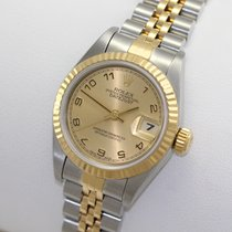 Rolex Steel Automatic Rolex Lady Datejust 69173 18K Gold Steel Champagne Arabic Dial pre-owned