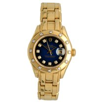 Rolex Lady-Datejust Pearlmaster Or jaune 29mm Bleu Romains