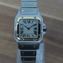 Cartier Santos Galbée Золото/Cталь 23mm Белый Римские