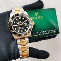 Rolex Submariner Date Acero y oro 41mm Negro Sin cifras