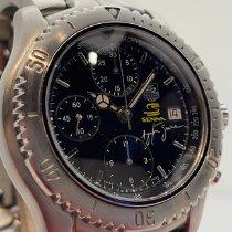 TAG Heuer Link gebraucht 42mm Schwarz Chronograph Datum Tachymeter Stahl