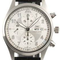 IWC Steel Automatic Silver 42mm pre-owned Pilot Spitfire Chronograph