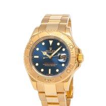 Rolex Желтое золото Автоподзавод Синий 40mm подержанные Yacht-Master