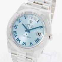 Rolex Day-Date II Platine 41mm Bleu Romains