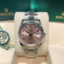 Rolex Oyster Perpetual Date Steel 34mm Pink Arabic numerals