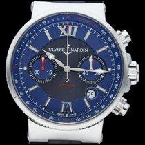 Ulysse Nardin Marine Chronograph occasion 41mm Bleu Chronographe Date Tachymètre Cuir de crocodile
