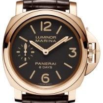 Panerai Luminor Marina 8 Days Pозовое золото 44mm Коричневый Aрабские