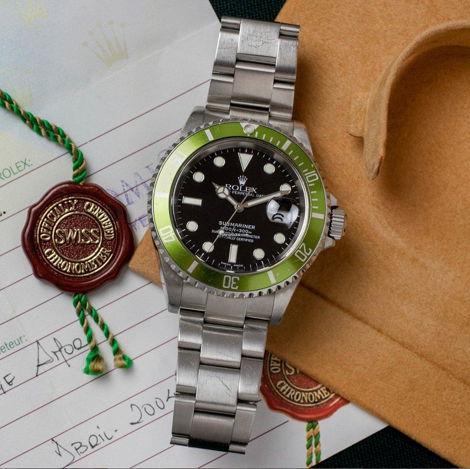 Rolex Submariner Date 16610LV Kermit 2004 подержанные