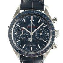 Omega Speedmaster Professional Moonwatch Moonphase подержанные 44mm Синий Индикатор фазы Луны Хронограф Дата Кожа аллигатора