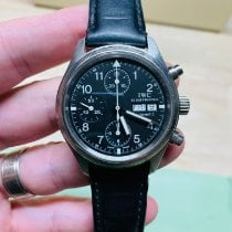 IWC Pilot Chronograph pre-owned 39mm Black Chronograph Date Weekday Leather