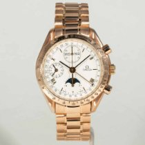 Omega Speedmaster Professional Moonwatch Moonphase pre-owned 39mm White Moon phase Chronograph Date Month Rose gold
