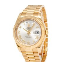 Rolex Day-Date II Or jaune 41mm Argent Romains