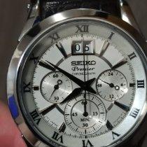 Seiko Premier pre-owned White Chronograph Date Annual calendar Leather