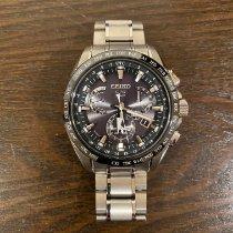 Seiko Astron GPS Solar Chronograph pre-owned 45mm Black Date Weekday Perpetual calendar Titanium