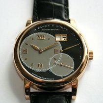 A. Lange & Söhne Grand Lange 1 pre-owned 42mm Black Panorama date Date Crocodile skin