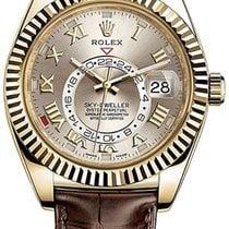 Rolex Sky-Dweller Желтое золото 42mm Cеребро Римские