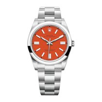 Rolex Oyster Perpetual Stahl 41mm Rot Keine Ziffern