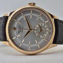 Rolex Cellini Dual Time Rose gold 39mm Silver No numerals