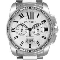 Cartier Calibre de Cartier Chronograph pre-owned 42mm Silver Chronograph Date Steel
