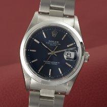 Rolex Oyster Perpetual Date tweedehands 34mm Blauw Datum Staal