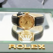 Rolex Oyster Perpetual Zuto zlato 34mm Boja šampanjca Bez brojeva