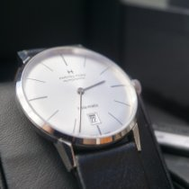 Hamilton Intra-Matic pre-owned 38mm Silver Date Leather