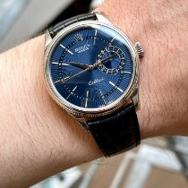 Rolex Cellini Date Or blanc 39mm Bleu Sans chiffres