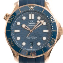 Omega Red gold Automatic Blue 42mm pre-owned Seamaster Diver 300 M