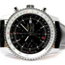 Breitling Navitimer World usados 46mm Negro Cronógrafo Fecha GMT Piel