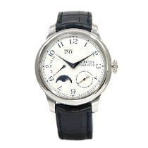 F.P.Journe Octa pre-owned 42mm Silver Moon phase Panorama date Crocodile skin
