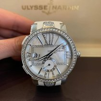Ulysse Nardin Executive Dual Time Lady pre-owned White Month GMT Crocodile skin