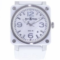 Bell & Ross BR 03-92 Ceramic pre-owned 42mm Mother of pearl Date Rubber