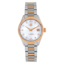 TAG Heuer Carrera Lady pre-owned 32mm Mother of pearl Date Gold/Steel