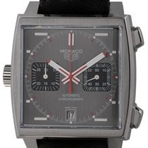TAG Heuer Monaco Calibre 11 pre-owned 47.5mm Grey Chronograph Date Leather