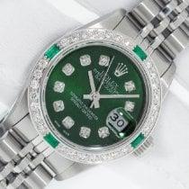 Rolex Lady-Datejust Aço 26mm Verde Sem números
