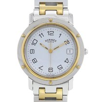 Hermès Clipper Stal 36mm Biały Arabskie