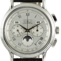 Zenith El Primero Chronomaster pre-owned 40mm Silver Moon phase Chronograph Date Weekday Month Leather