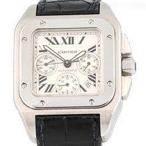 Cartier Santos 100 Stahl 41mm Weiß Römisch