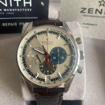 Zenith El Primero 36'000 VpH używany 42mm Srebrny Chronograf Data Skóra krokodyla