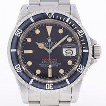 Rolex Submariner Date gebraucht 40mm Rot Datum Stahl
