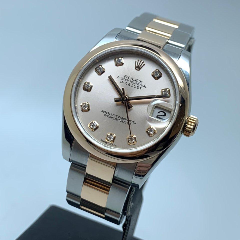 Rolex Datejust 31 Pink Rose Gold Diamond Dial FULL SET LC EU